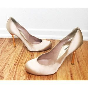 Emporio Armani Bronze Satin Gold Heel Pumps